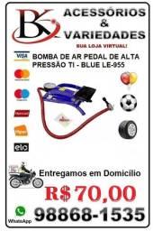 Bomba de Ar Pedal de Alta Pressão Com Bicos Adaptadores It-Blue 955- (Loja BK Variedades)