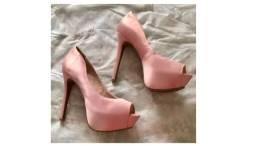 Peep Toe Forrado Salto Alto Nude Rosado Maravilhoso - Tam 37