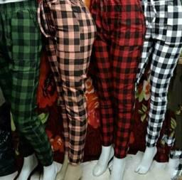 Calça Jogger Calça Xadrez Bengaline Calça Quadriculada Calça Feminina<br>