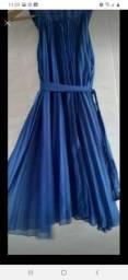 Lindo vestido azul grapeado de 80 por 50 reais novo