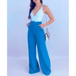 Título do anúncio: Calça Cinto Alfaiataria Pantalona Feminina