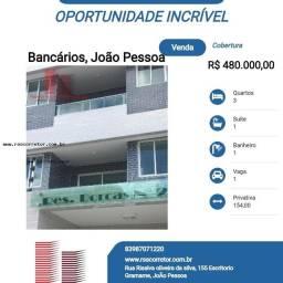 Título do anúncio: Cobertura para Venda em João Pessoa, Bancários, 3 dormitórios, 1 suíte, 1 banheiro, 1 vaga
