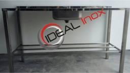 Pia Inox 1,50x53mt 1 cuba central 40x34 Ideal Inox