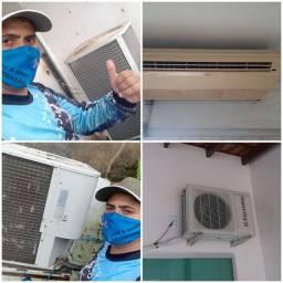 Manutenção em central de ar e ar de janela.