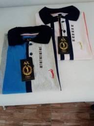 variedade de camisas e camisetas marcas primeira linha