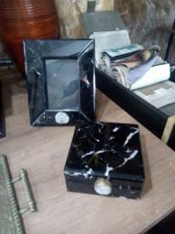 Pronta Entrega: Porta-Retrato+Caixa Decorativa/Mármore Negro, R$1.136,18!