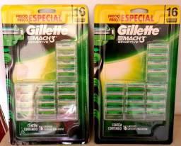16 lâminas Mach3 Sensitive Gillette. Por R$:80.