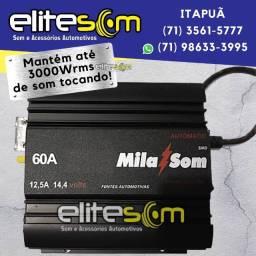Fonte Automotiva Mila Som 60A Turbo Digital instalada na Elite Som