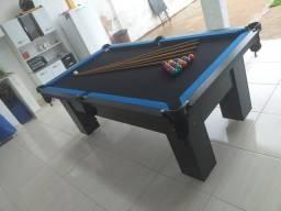 Mesa de Bilhar Preta TX Bordas Azul Tecido Preto