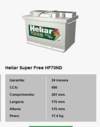 Bateria Para Carro Heliar de 70 AH com 2 Anos de Garantia - R$499,00