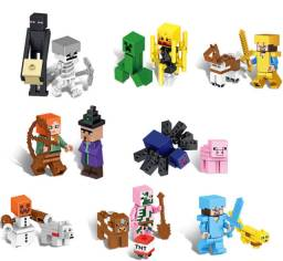 Kit Minecraft 16 Mini Figuras Steve Alex Enderman Homem Porco Barato