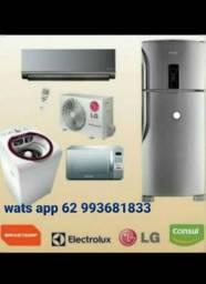 Máquina de lavar roupa e geladeira