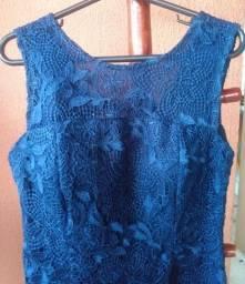 Título do anúncio: Vestido azul marinho de guipir
