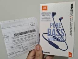 Fone Bluetooth JBL Pure Bass Tune115BT.  Novo na Garantia.
