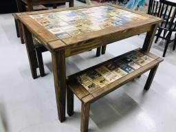 Título do anúncio: ??Mesa de churrasco 1,20x80 em madeira maciça com 2 bancos a pronta entrega ?