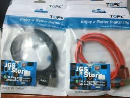 Cabo Magnético Flexível Micro-USB, USB Tipo C e iPhone