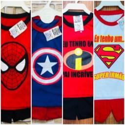 Lote infantil super heróis menino com 10 peças  tam 0 ao 1