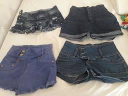 Título do anúncio: 4 shorts jeans tamanho 38 forma pequena.