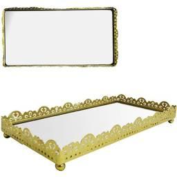 Bandeja De Metal Espelho Retangular Metalizado novo lacrado