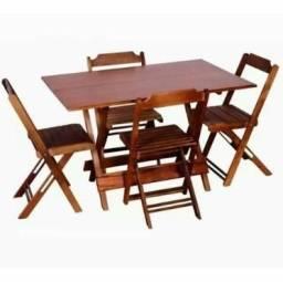 Belissimo Conjunto de Mesa 4 cadeiras 120x80 Dobravel de Madeira Com Otimo Preço