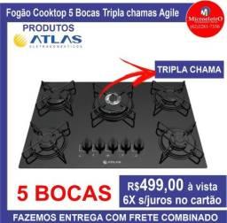 Fogão Cooktop,5 Bocas Tripla Chama, Marca : Atlas