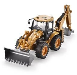 Miniatura trator retro escavadeira articulável 1/50 Huina