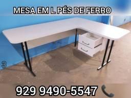 mesa em l grande    para escritorio  **