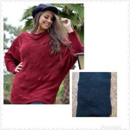 Blusa Poncho cor azul acinzentado por R$ 105,00