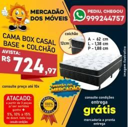 Cama Box Casal (Base+Colchão Espuma D20) Entrega Grátis