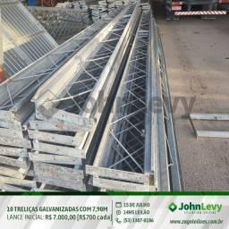 Leilão - Treliças metálicas galvanizadas a fogo, com 7,90 metros de comprimento
