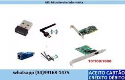 Placa de rede 10-100-1000 PCI e USB