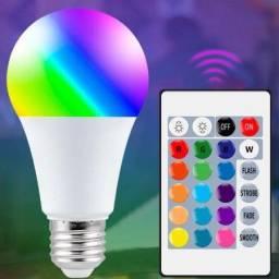 Título do anúncio: Lâmpada LED Bulbo RGB 3W Colorida Bivolt com Controle Remoto