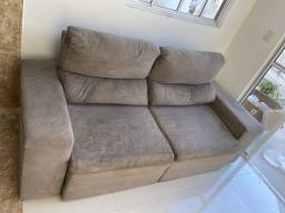Sofá reclinável e retrátil 3 lugares cinza