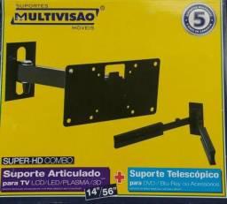 Suporte biarticulado com inclinação para TV de 14 a 56 + Suporte para DVD e Etc