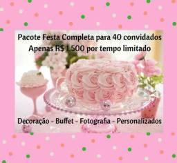 Pacote Festa Completa DECOR BUFFET FOTO PERSONALIZADOS GARÇOM CONVITE