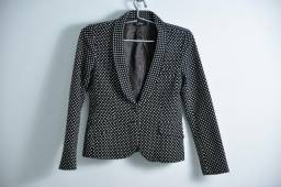 ecf9ba70d8219 Blazer Spencer Terno Leloo preto slim bolinhas textura tecido forrado  tamanha M (veste P)