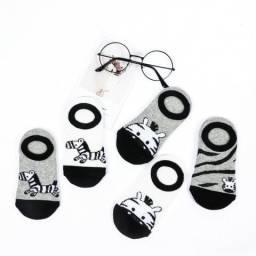 Kit 5 Pares de Meia Sapatinha Infantil Zebra