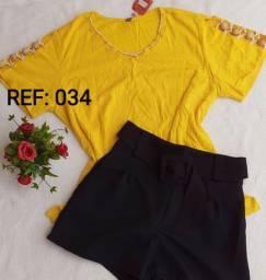 Conjunto feminino de short na alfaiataria e blusa