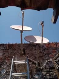 Instalação de uma e duas antenas receptores alternativos