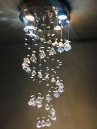 Lustre Espiral 30 cm Diamante circular 4 lâmpadas Led GU-10 cristal acrílico
