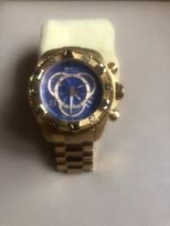 Relógio Invicta Excursion Reserve 6469 Dourado Fundo Azul