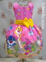 Vestido Temático Infantil Baby Shark Luxo