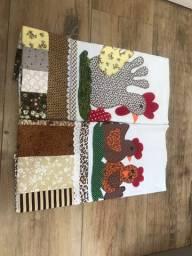Panos de prato patchwork/bordados. 12 unidades