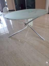 Título do anúncio: Mesa de centro com base em alumínio e vidro fosco