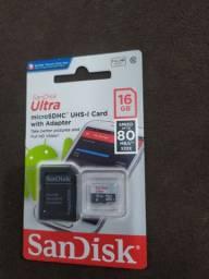 Vendo cartão de memória Sandisk 16GB Novo, original e lacrado