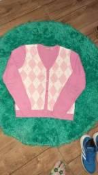 Título do anúncio: Casaco Lã  Xadrez Rosa