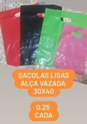 Sacolas Lisas, Alça Vazada, 30x40 0,25 cada