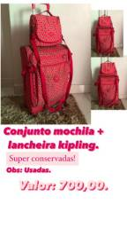 Conjunto mochila e lancheira kipling, originais!
