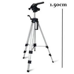 Tripé Universal Telescópico Médio - Câmera Fotográfica e Celular - 150cm