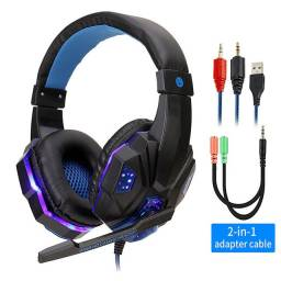Fone de ouvido Gamer LED Azul USB e P2 com adaptadores